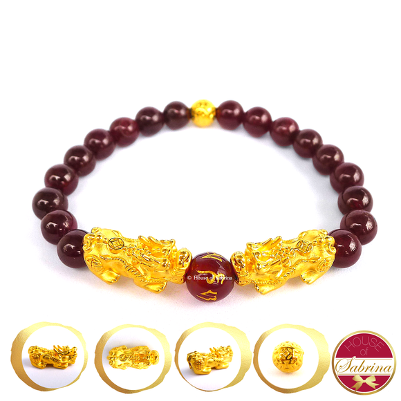 24K Gold Double Medium Pi Yao with Lucky Coin in Garnet Bracelet