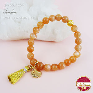 24K GOLD FORTUNE COIN+ HIGH GRADE SUNSTONE GEMSTONE TASSEL BRACELET