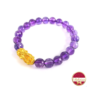 24K Gold Medium Pi Yao Charm in Faceted Crystal Amethyst Bracelet