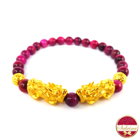 24K Gold Double Medium Pi Yao with Double Lucky Coin in Pink Tiger Eye Bracelet