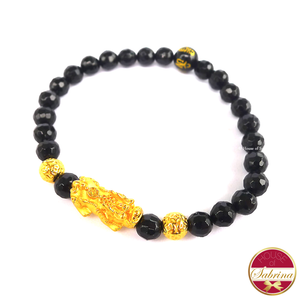 24K Gold Medium Pi Yao with Double Lucky Coin in Faceted Black Onyx Bracelet