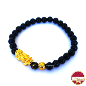 24K Gold Medium Pi Yao with Lucky Coin in  Black Onyx Bracelet