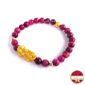 24K Gold Medium Pi Yao with Lucky Coin in Pink Tiger Eye Bracelet