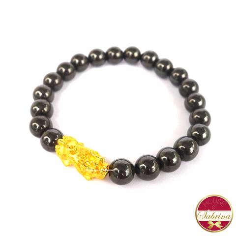24K Gold Medium Pi Yao in Hematite Bracelet