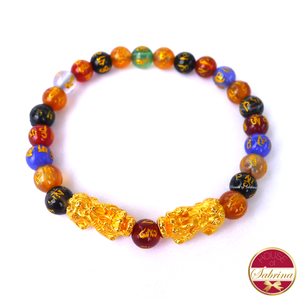 24K Gold Small Double Pi Yao  in Multigemstone Mantra Bracelet