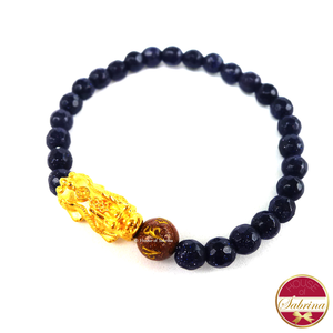 24K Gold Medium Pi Yao  in Blue Sandstone Bracelet