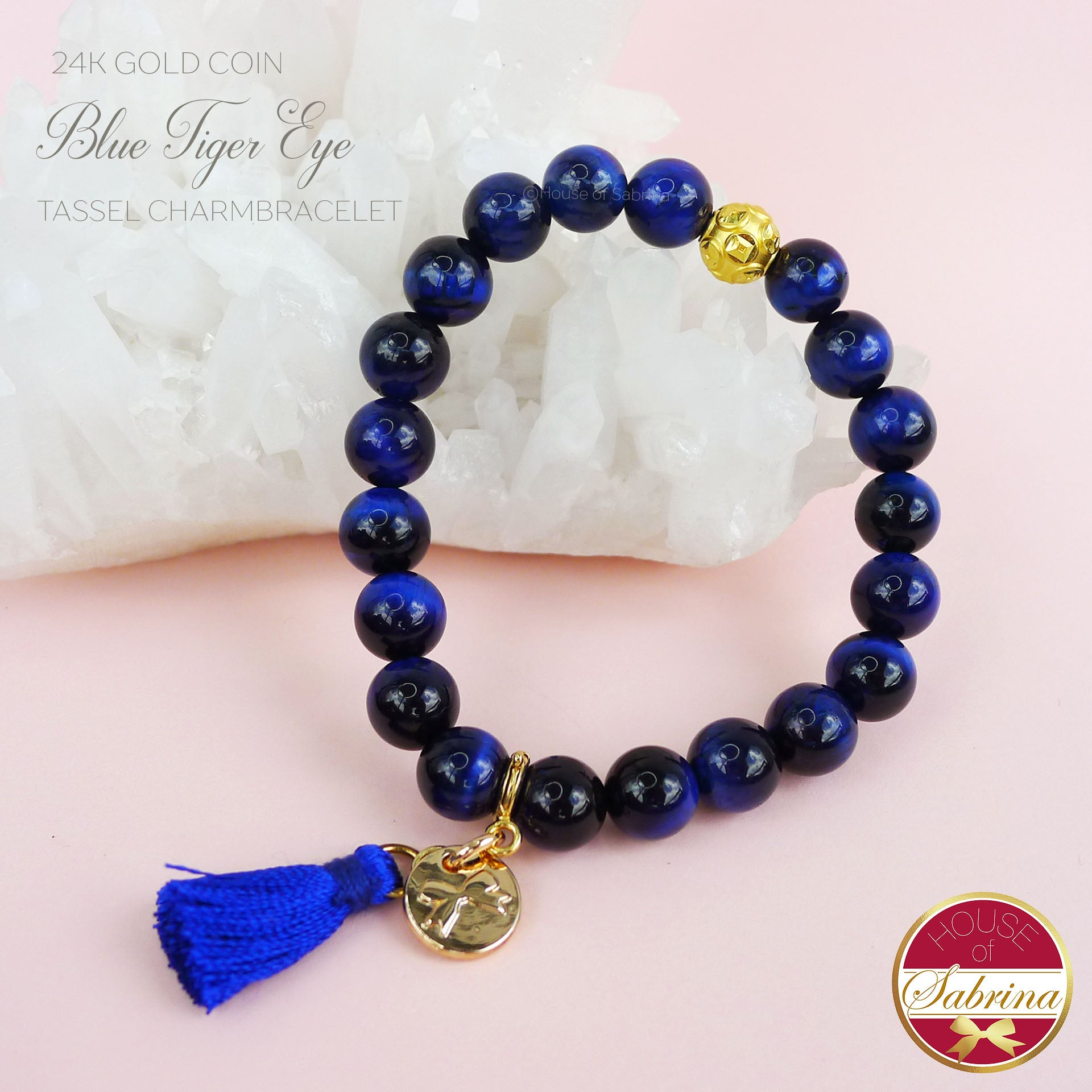 24K GOLD FORTUNE COIN + BLUE TIGER EYE TASSEL BRACELET