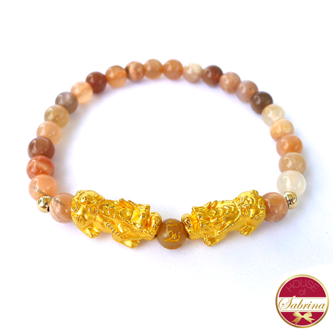 24K Gold Small Double Pi Yao in Sunstone Bracelet