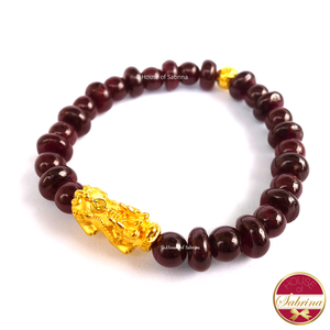 24K Gold  Medium Pi Yao with Lucky Coin in Round/Flat Garnet Bracelet