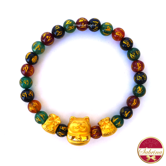 24K Gold Lucky Cat with Money Bags in Multigemstone Mantra Bracelet