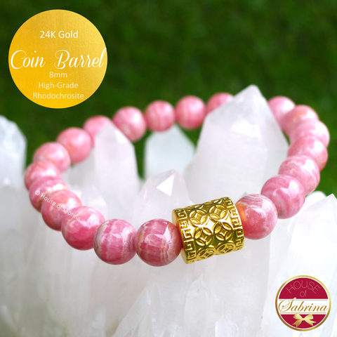 24K Gold Coin Barrel on 8mm High-Grade Rhodochrosite