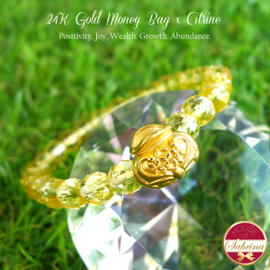 24K Gold Money Bag on Citrine Gemstone Bracelet