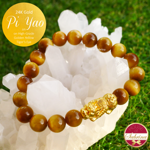24K Gold Large Pi Yao on High-Grade Golden Yellow Tiger Eye Gemstone Bracelet
