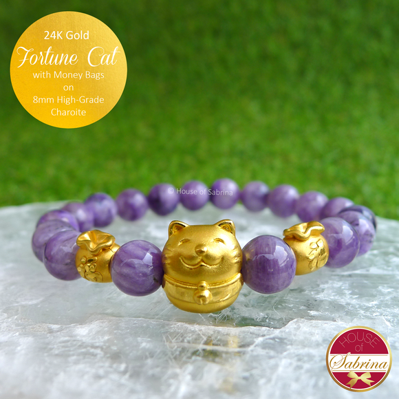 24K Gold Fortune Cat with Money Bags on 8mm High Grade Charoite Gemstone Bracelet