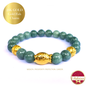 24K Gold Gold Fish Wealth Charm on Jade Gemstone Bracelet