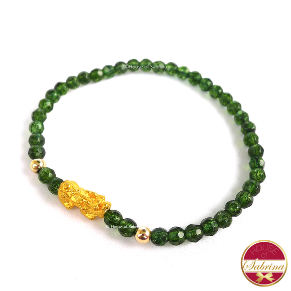 24K Gold Mini Pi Yao Charm in Faceted Peridot Bracelet
