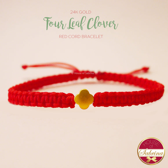 24K GOLD FOUR LEAF CLOVER RED CORD LUCKY CHARM BRACELET