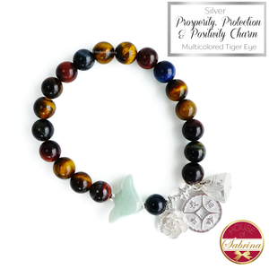 Silver Prosperity Protection and Positivity Trio on Multicolored Tger Eye Gemstone Bracelet