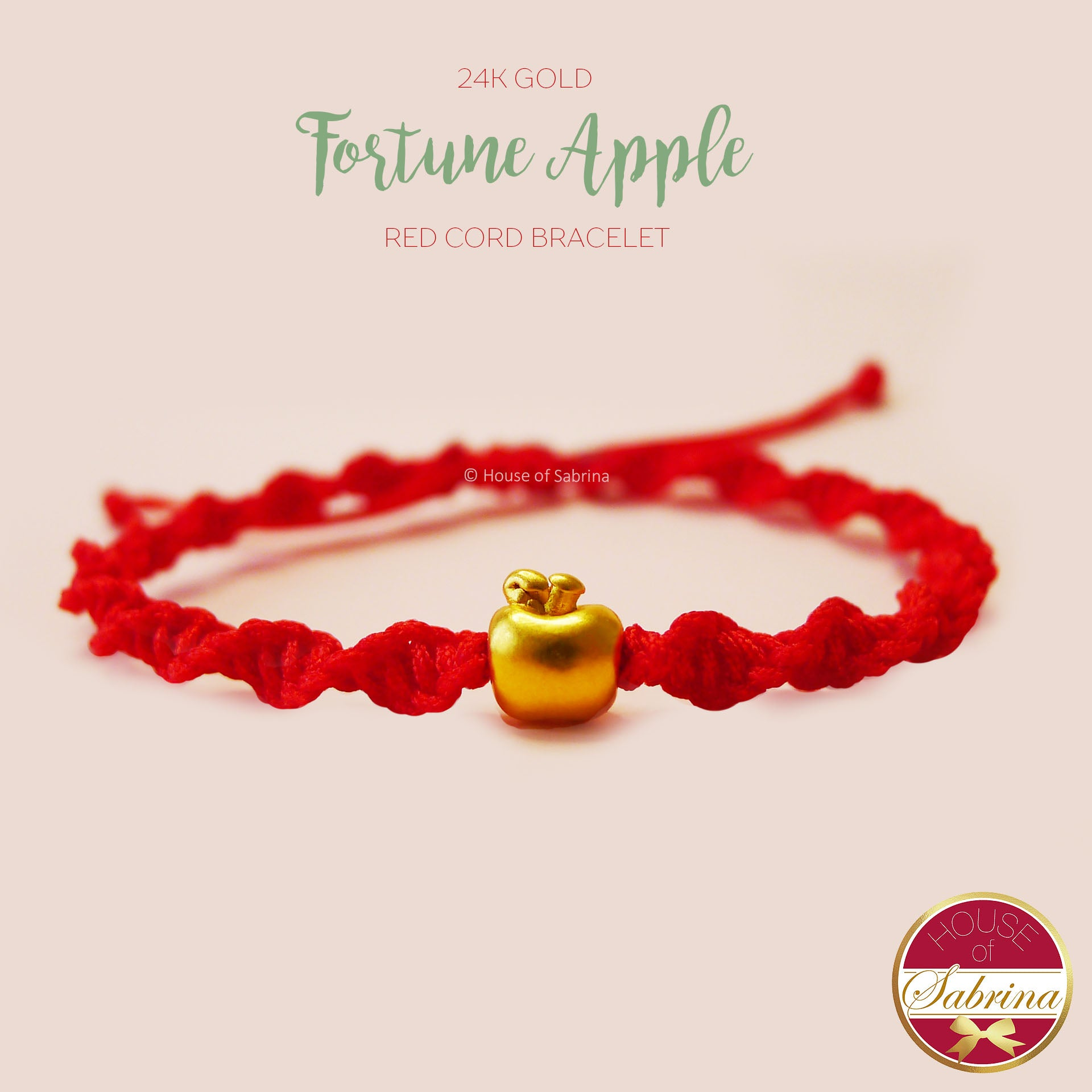 24K GOLD MINI FORTUNE APPLE ON RED CORD LUCKY CHARM BRACELET