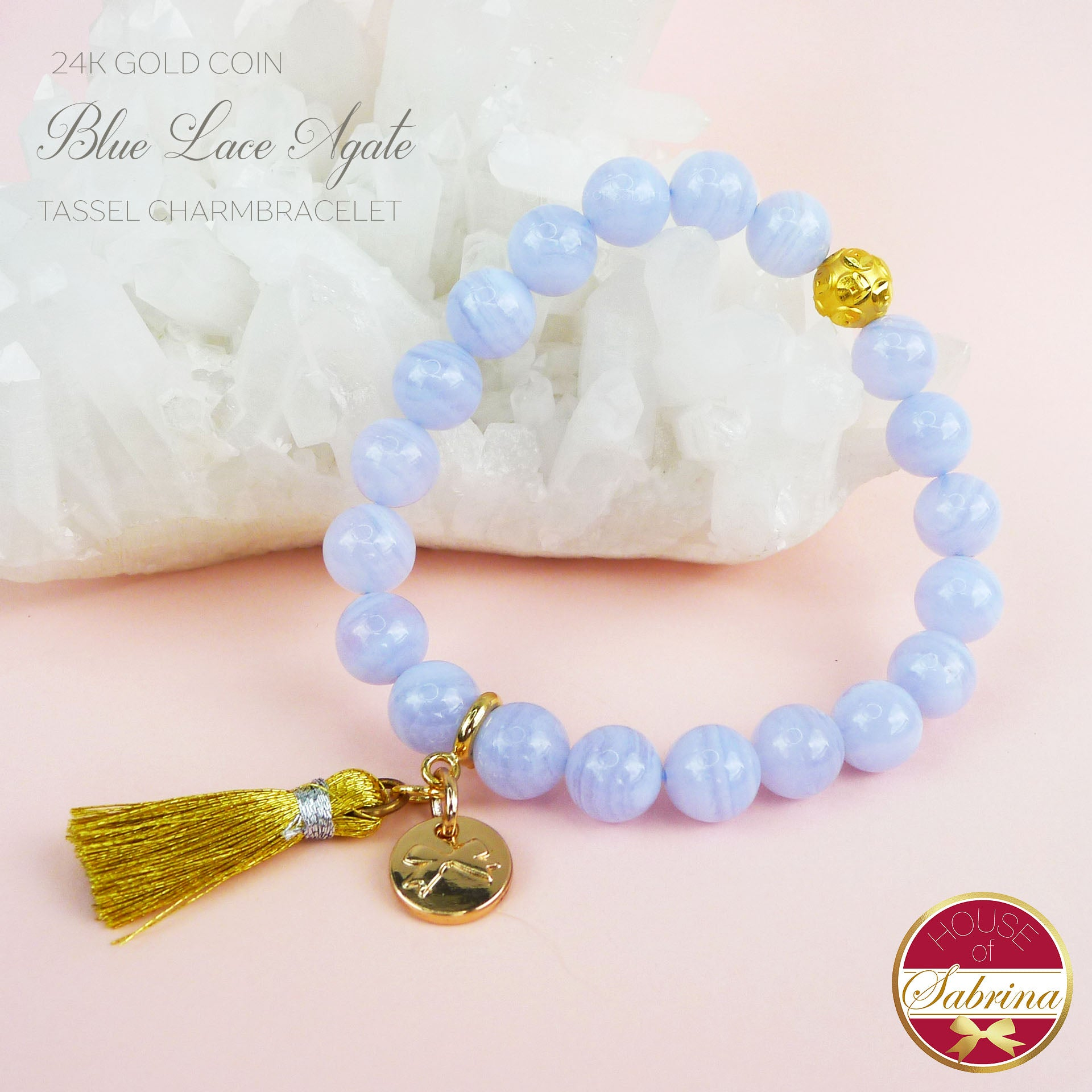 24K GOLD FORTUNE COIN + HIGH GRADE BLUE LACE AGATE TASSEL BRACELET
