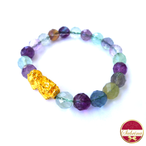24K Gold Medium Pi Yao Charm in Faceted Fluorite Bracelet