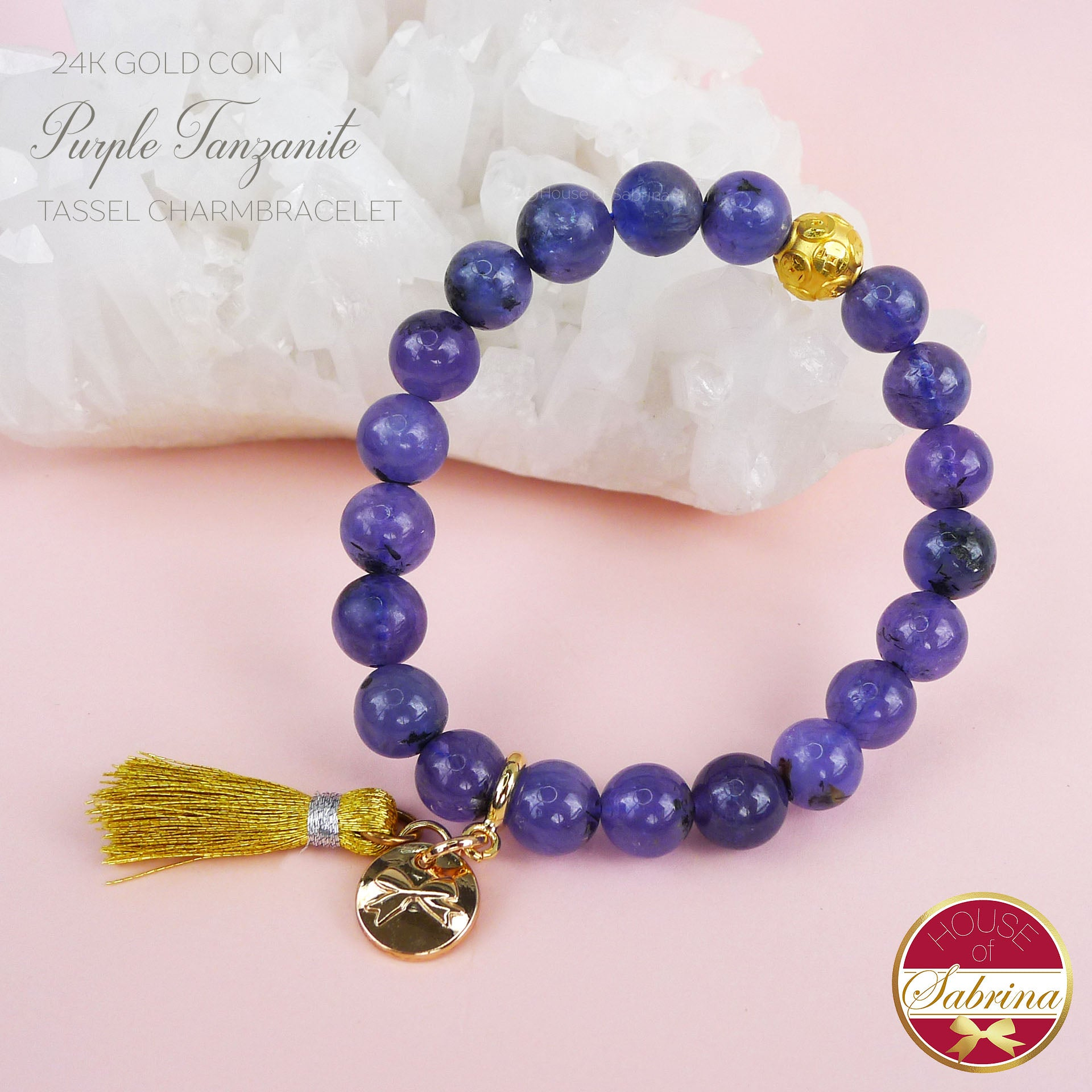 24K GOLD FORTUNE COIN + HIGH GRADE PURPLE TANZANITE