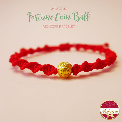 24K GOLD FORTUNE COIN BALL RED CORD LUCKY CHARM BRACELET