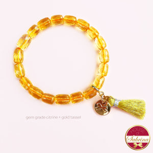 GEM GRADE FACETED CITRINE GEMSTONE BRACELET WITH TASSEL
