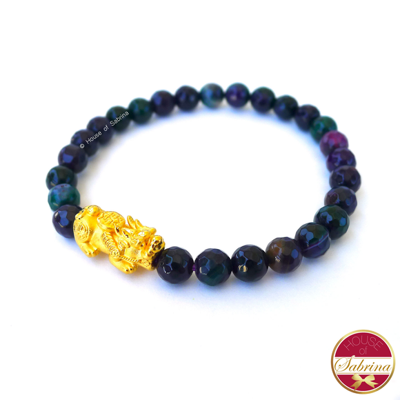 24K Gold Medium Pi Yao Charm in Purple Green Agate Bracelet