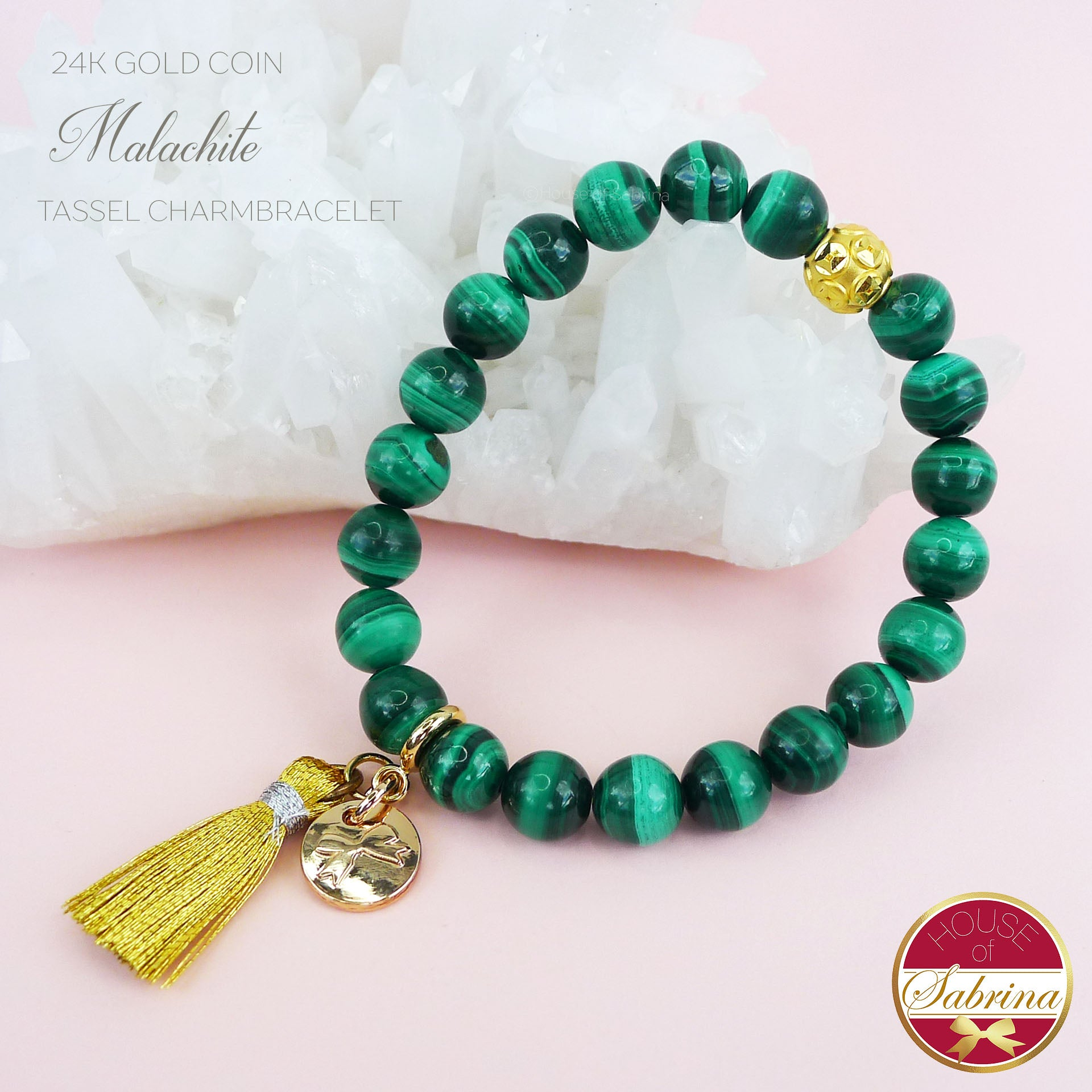 24K GOLD FORTUNE COIN + MALACHITE GEMSTONE TASSEL BRACELET