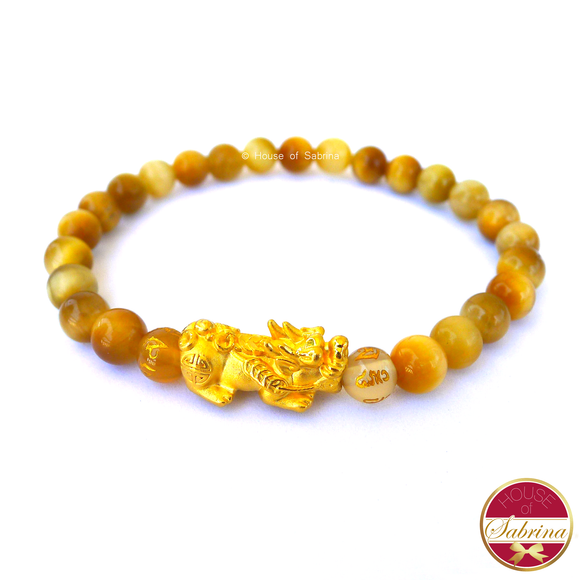 24K Gold Medium Pi Yao Charm in  Yellow Tiger Eye Bracelet