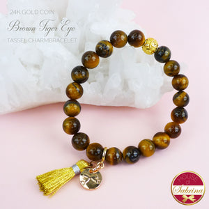 24K GOLD FORTUNE COIN + BROWN TIGER EYE GEMSTONE TASSEL BRACELET