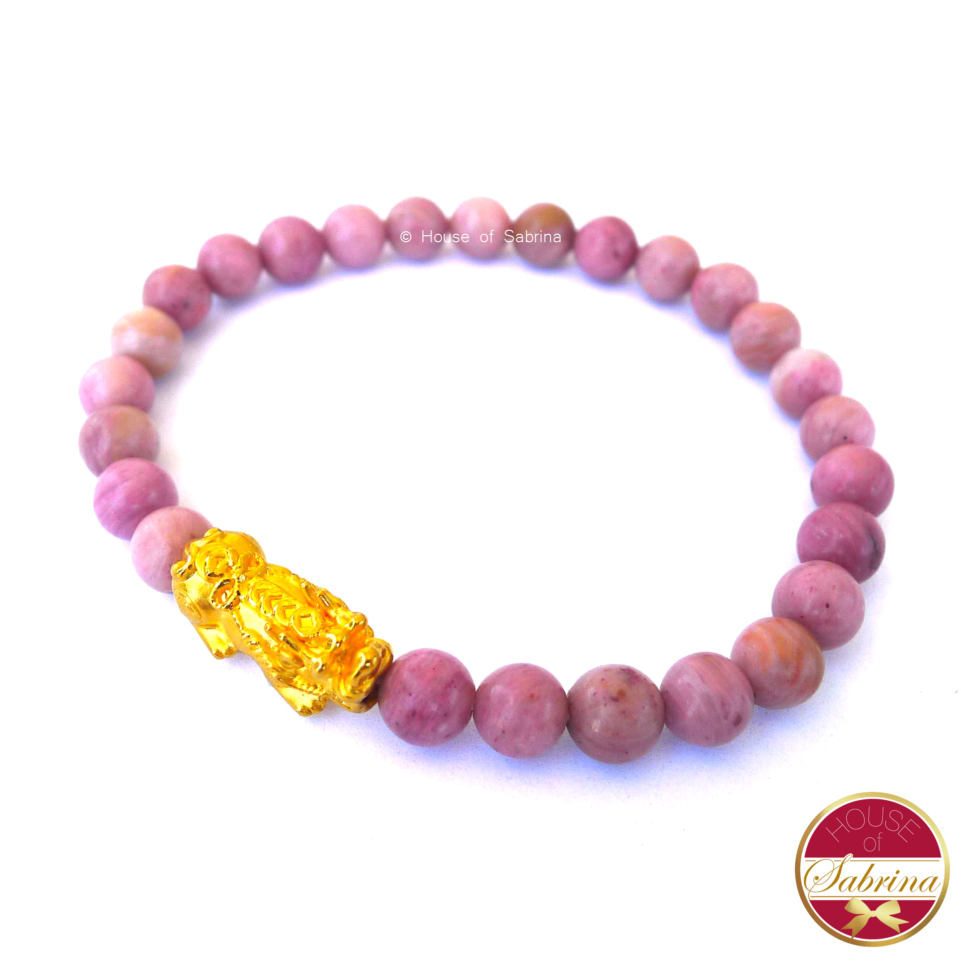 24K Gold Medium Pi Yao Charm in Rhodonite Bracelet