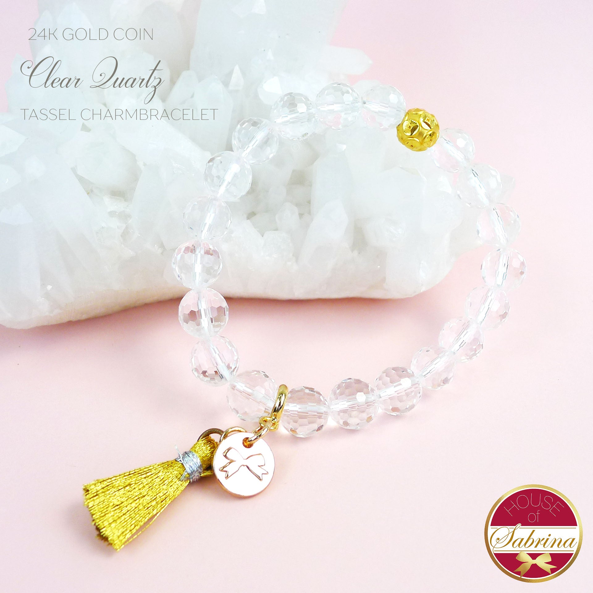 24K GOLD FORTUNE COIN + CLEAR QUARTZ GEMSTONE TASSEL BRACELET