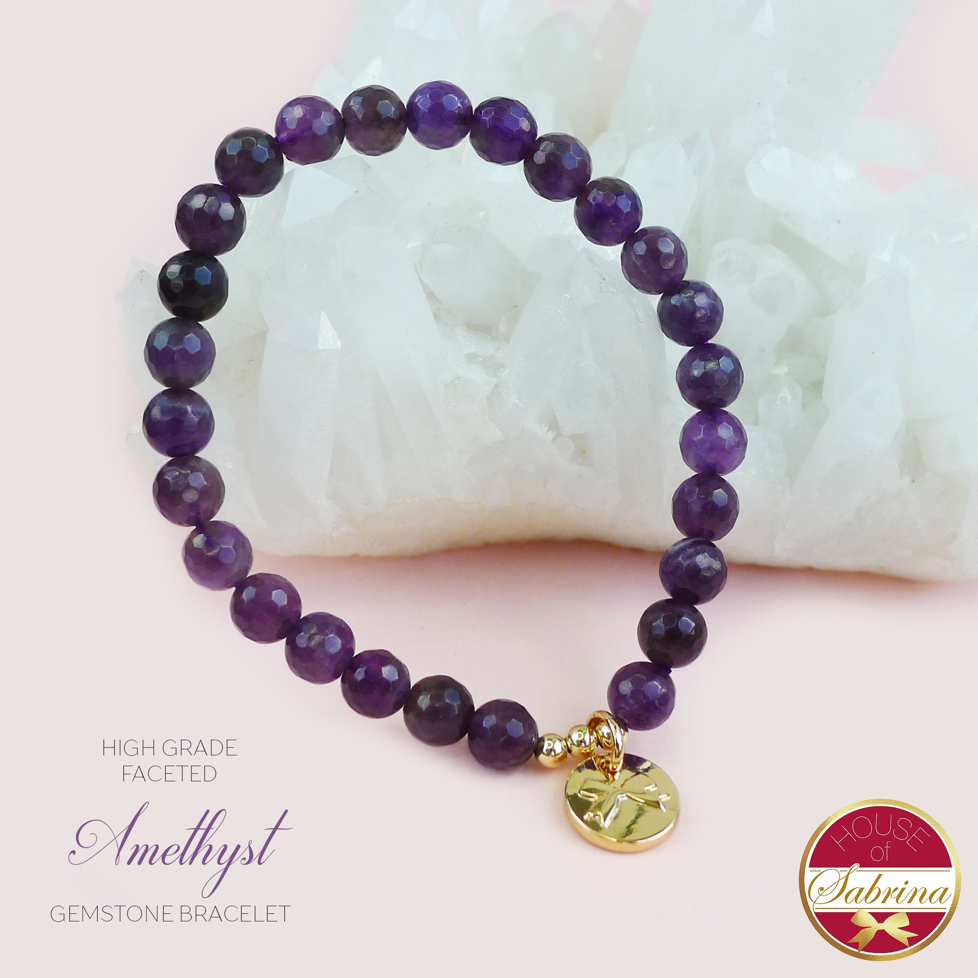 HIGH GRADE FACETED AMETHYST GEMSTONE BRACELET