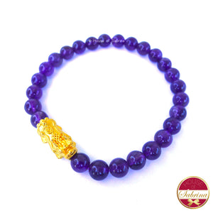 24K Gold Medium Pi Yao Charm in Amethyst Bracelet