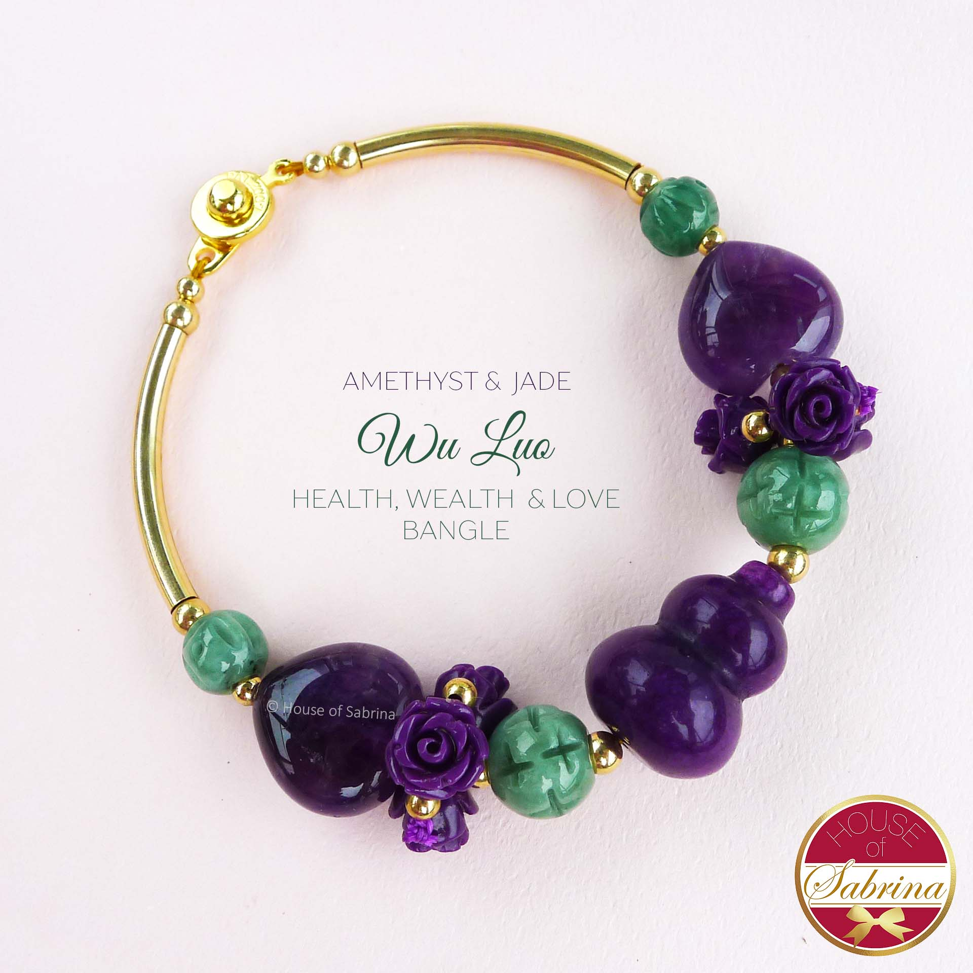 Floral Half Bangle Amethyst & Jade Wu Luo Health Lucky Charm