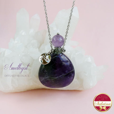 AMETHYST GEMSTONE DIFFUSER NECKLACE