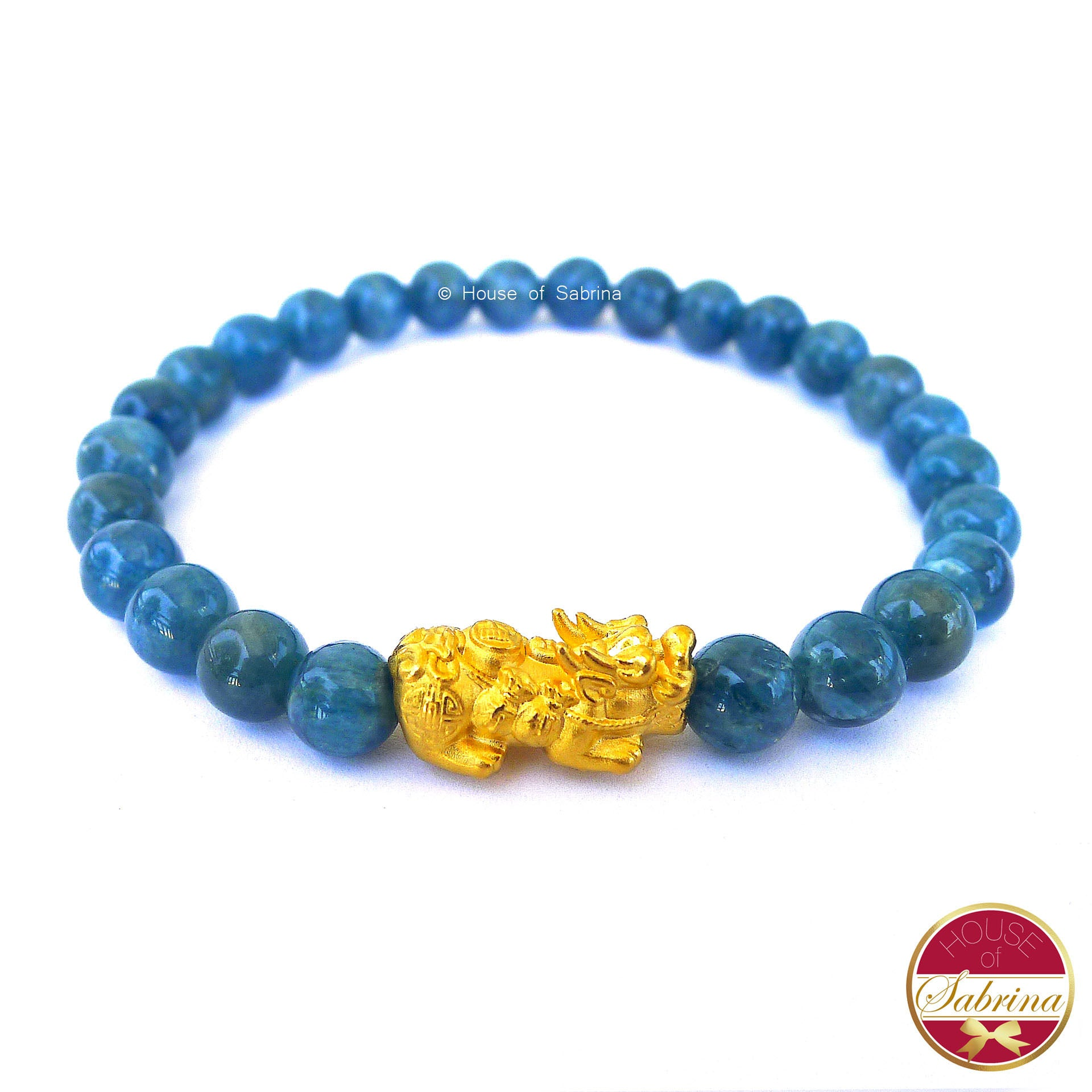 24K Gold Medium Pi Yao Charm in Apatite Bracelet