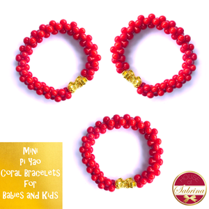 24K Gold Mini Pi Yao Coral Bracelet for Babies and Kids