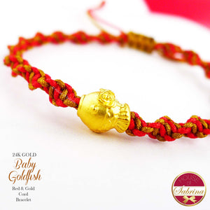 24K GOLD BABY GOLDFISH ON RED AND GOLD CORD LUCKY CHARM BRACELET