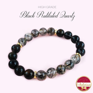 HIGH GRADE BLACK RUTILATED QUARTZ GEMSTONE BRACELET