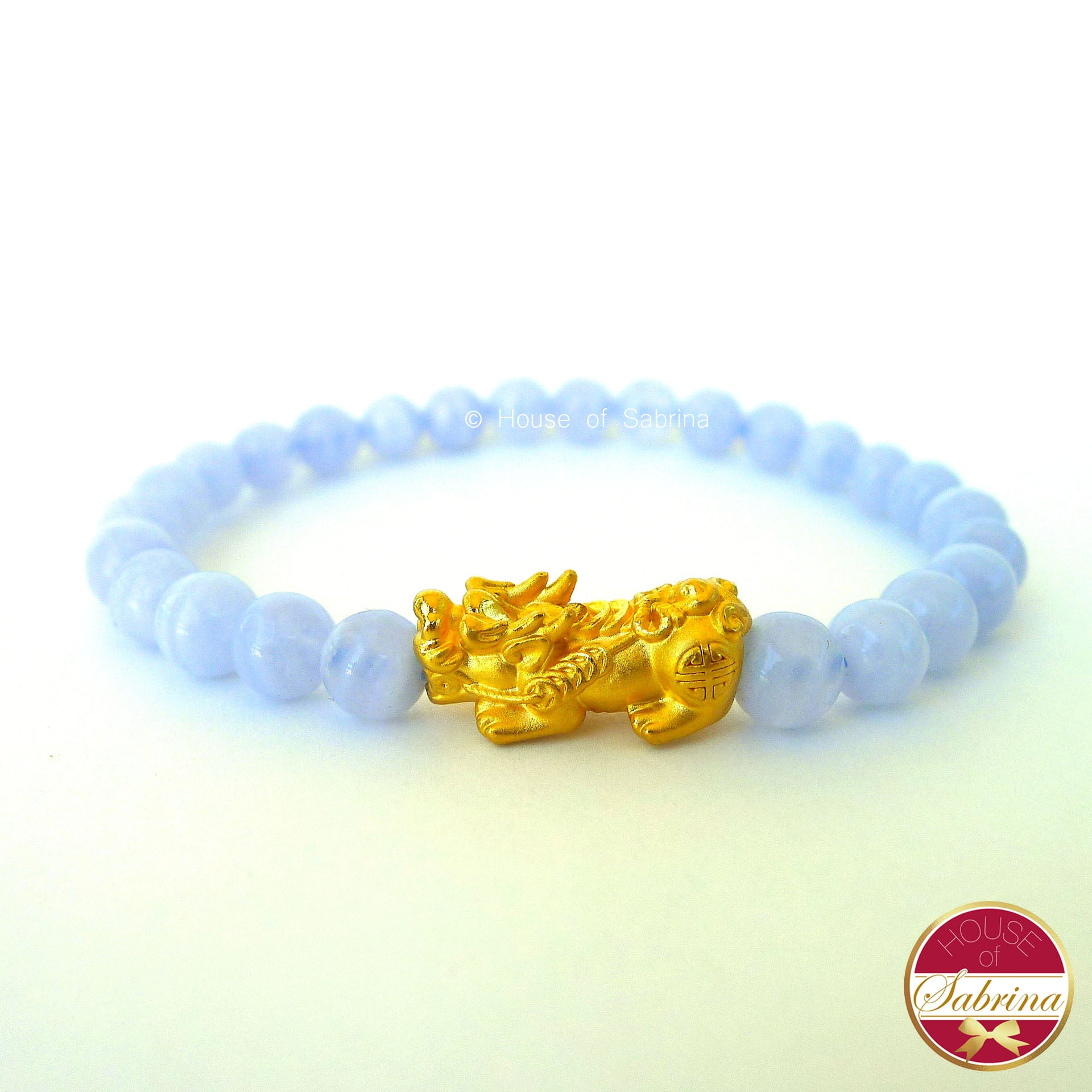 24K Gold Medium Pi Yao Charm in  Blue Lace Agate Bracelet