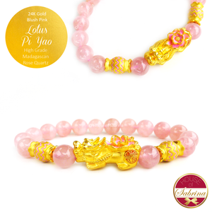 24K Gold Blush Pink Pi Yao Lotus with Candy Accents on High Grade Madagascan Rose Quartz