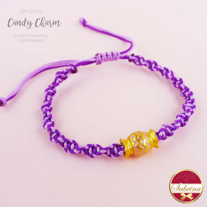 24K GOLD COLOURED CANDY CHARM ON PURPLE CORD LUCKY CHARM BRACELET