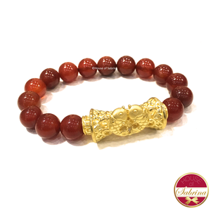 24K Gold Fortune Double Koi Barrel on Red Carnelian Gemstone Bracelet