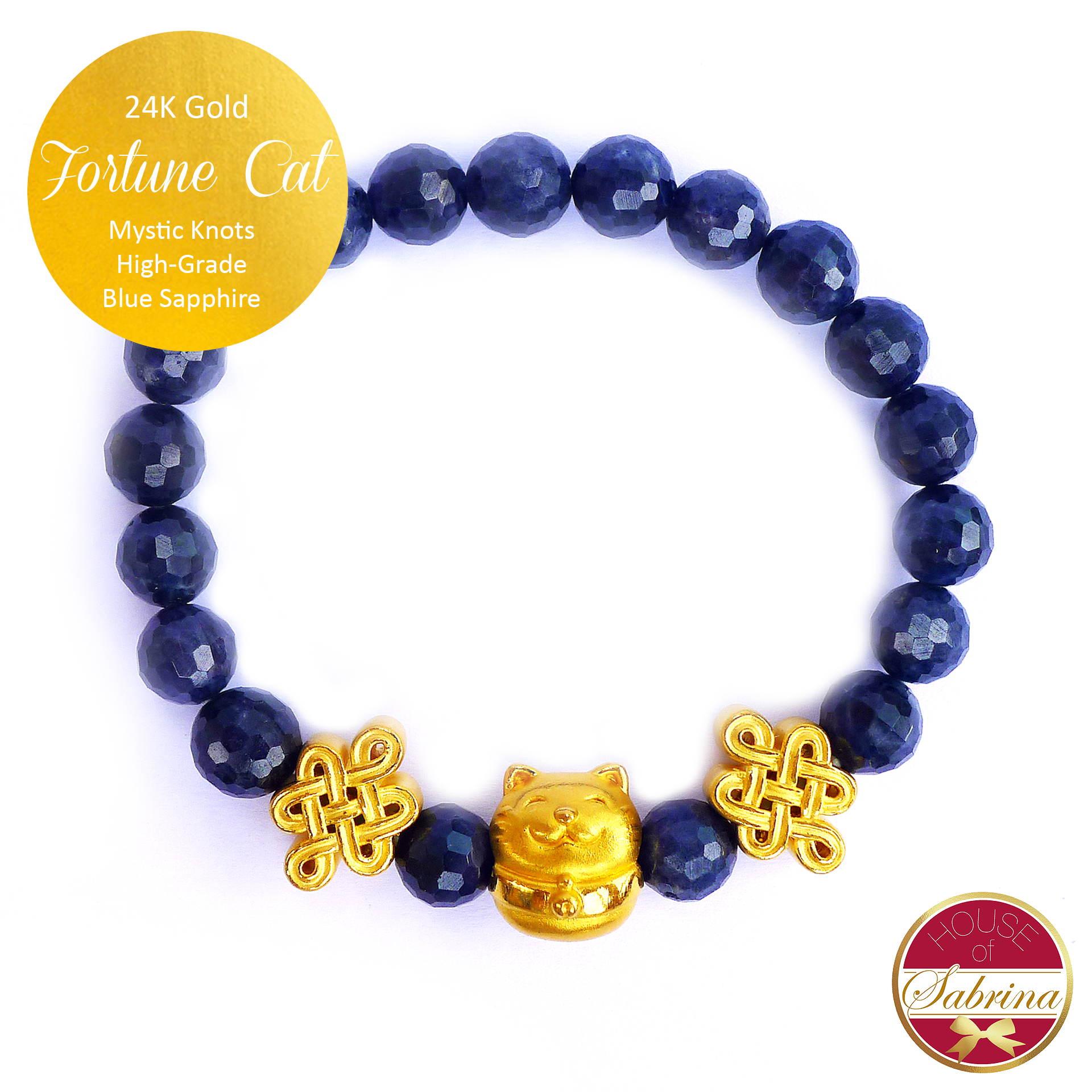 24K Gold Fortune Cat with Mystic Knots in High Grade Blue Sapphire Gemstone Bracelet