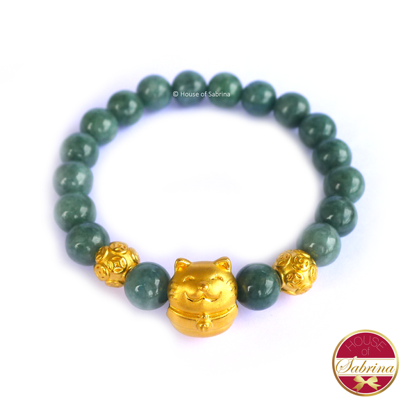 24K Gold Fortune Cat with Chinese Coins in Jade Gemstone Bracelet
