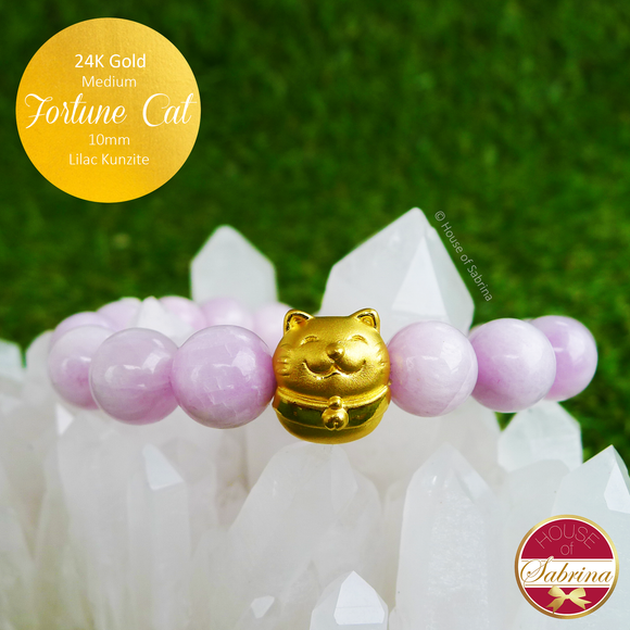 24K Gold Fortune Cat on High Grade Lilac Kunzite Bracelet