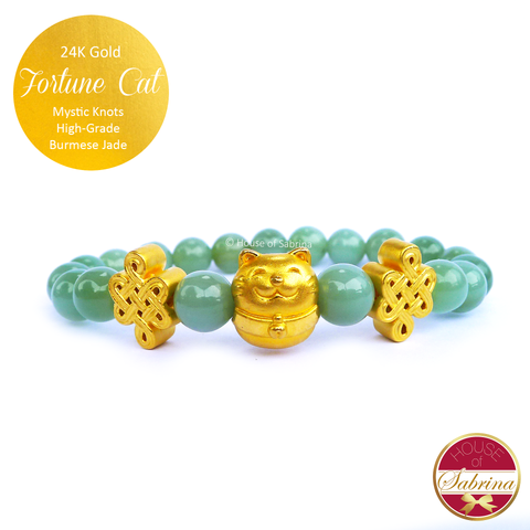 24K Gold Fortune Cat with Mystic Knots in High Grade Burmese Jade Gemstone Bracelet